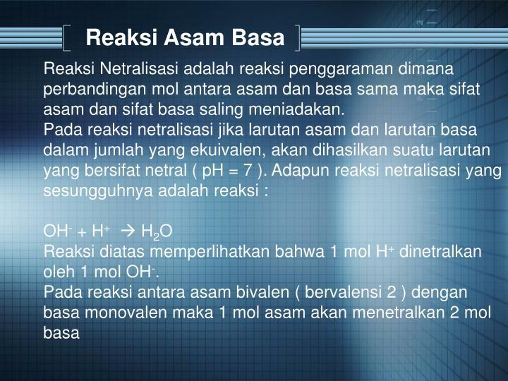 Reaksi Asam Basa