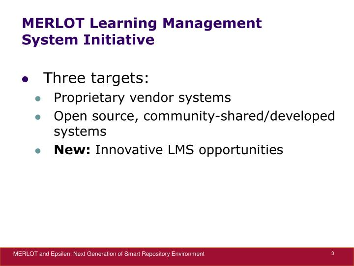 Merlot learning management system initiative