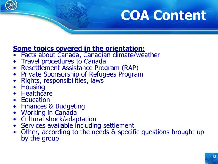 Some topics covered in the orientation: