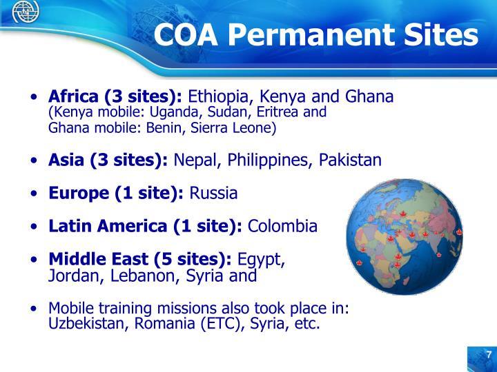Africa (3 sites):