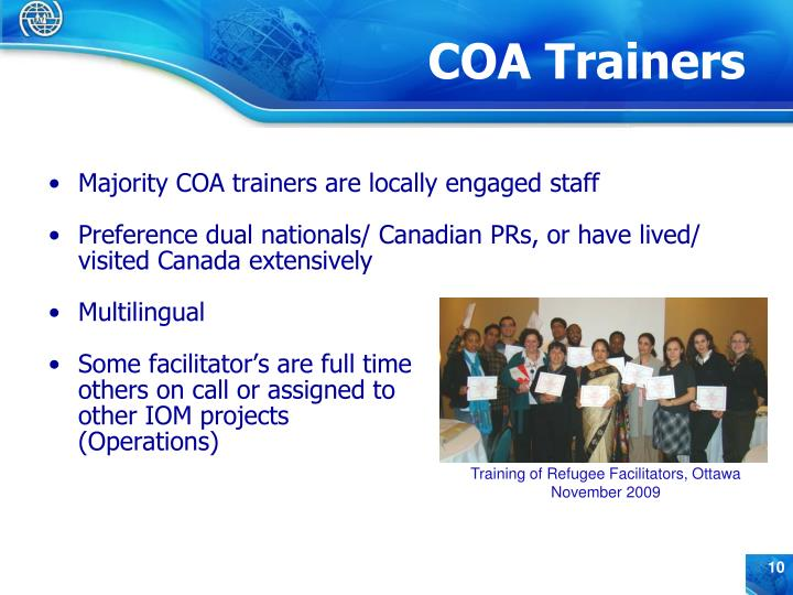 Majority COA trainers are locally engaged staff