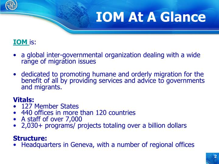Iom at a glance