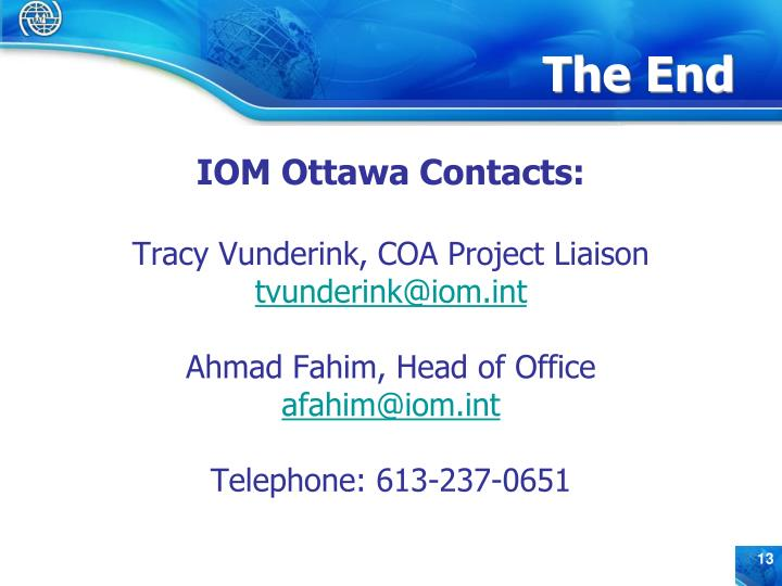 IOM Ottawa Contacts:
