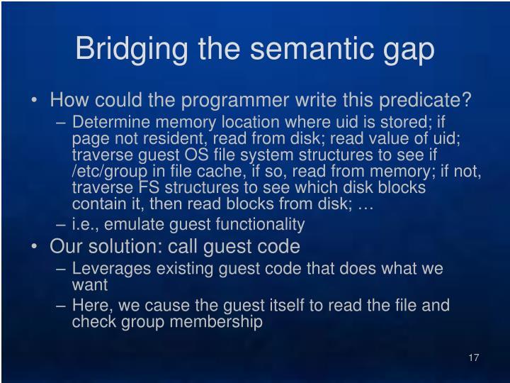 Bridging the semantic gap