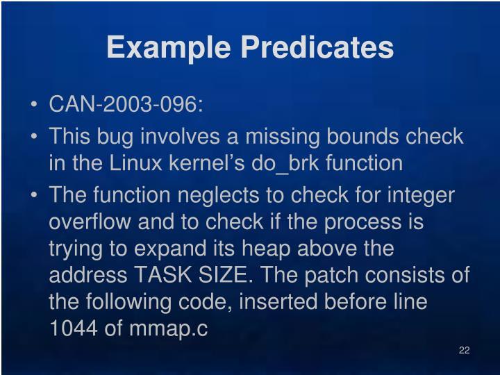 Example Predicates
