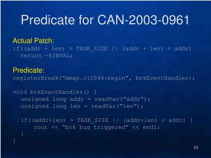 Predicate for CAN-2003-0961