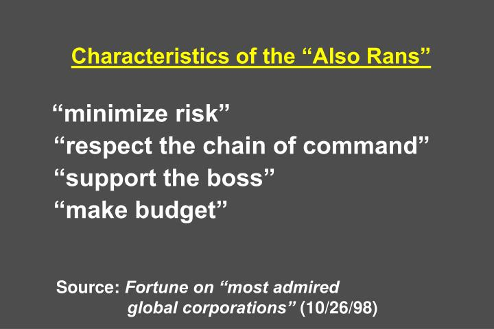 "Characteristics of the ""Also Rans"""