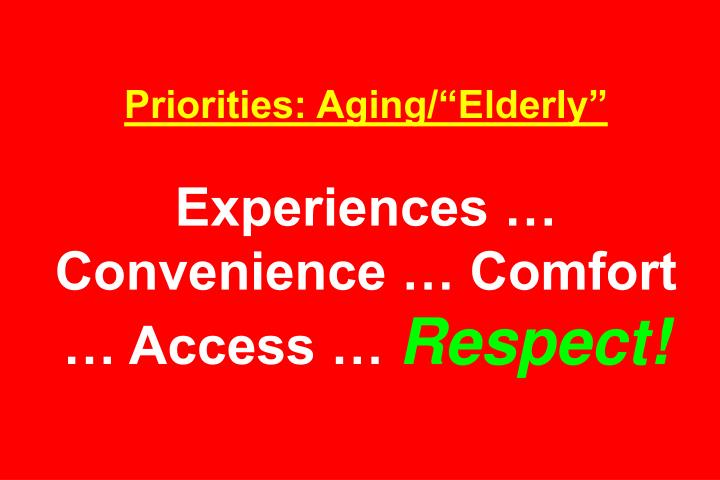 "Priorities: Aging/""Elderly"""