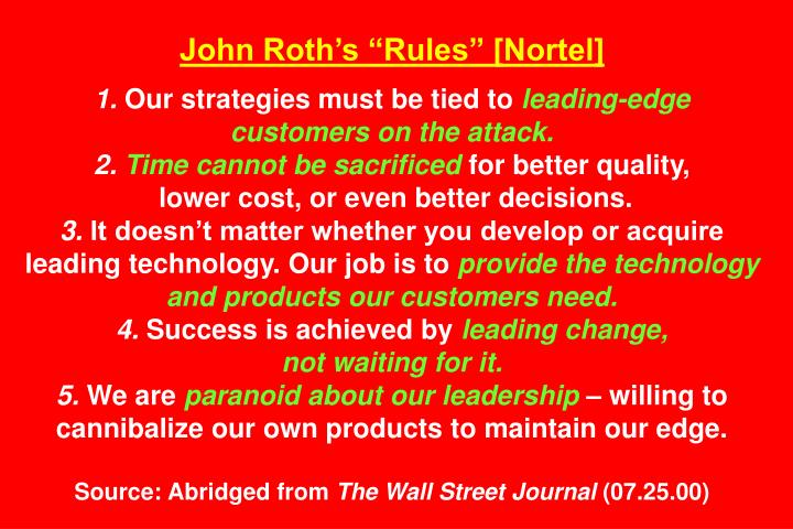 "John Roth's ""Rules"" [Nortel]"