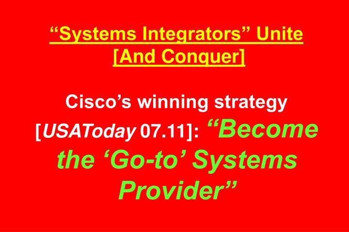 """Systems Integrators"" Unite"