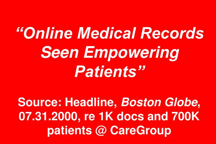 """Online Medical Records Seen Empowering Patients"""