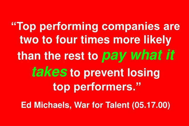 """Top performing companies are two to four times more likely than the rest to"