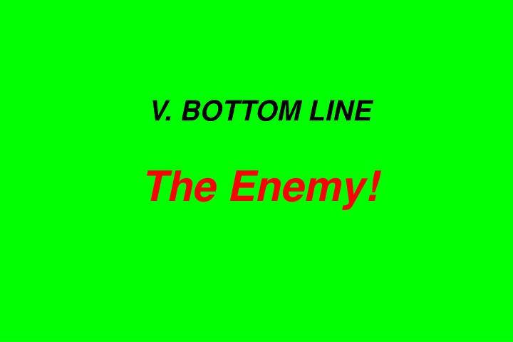 V. BOTTOM LINE