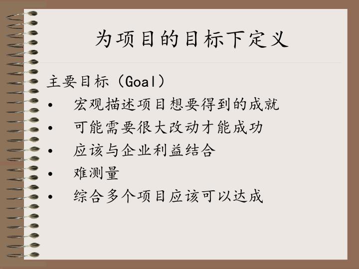 为项目的目标下定义