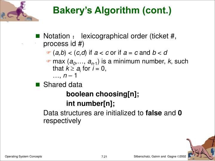Bakery's Algorithm (cont.)