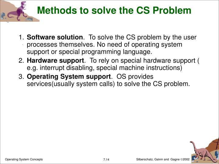Methods to solve the CS Problem
