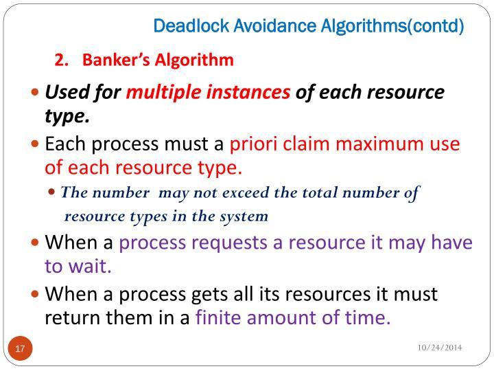 Deadlock Avoidance Algorithms(
