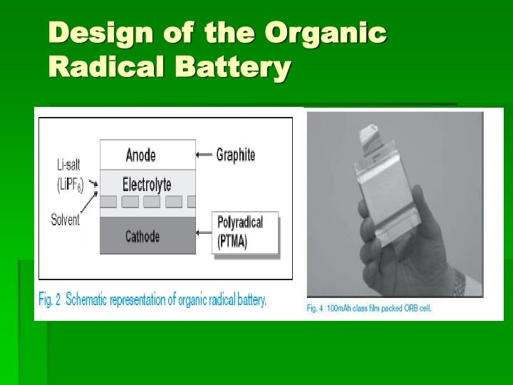 Design of the Organic Radical Battery
