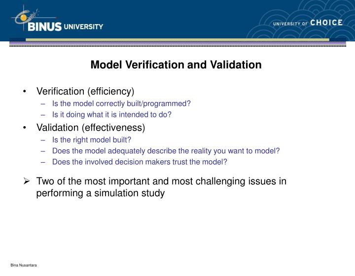 Model Verification and Validation