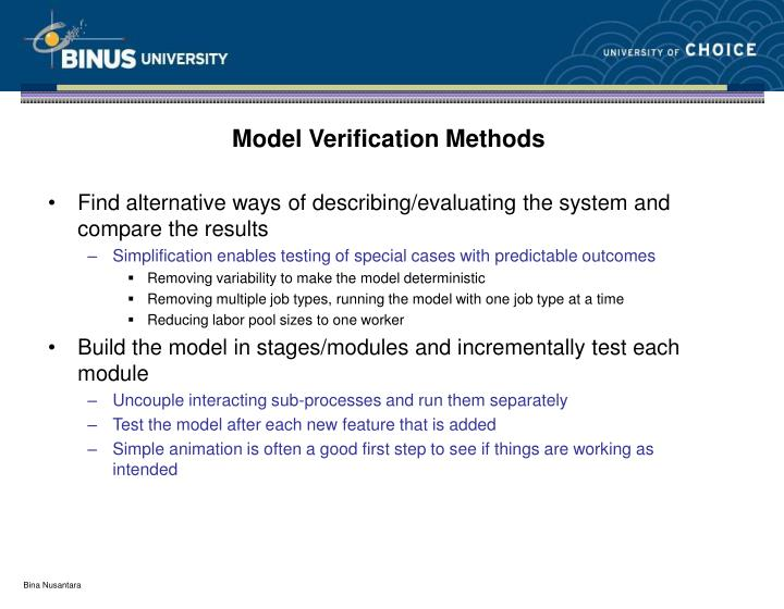 Model Verification Methods