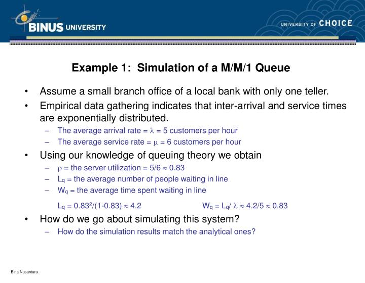 Example 1:  Simulation of a M/M/1 Queue