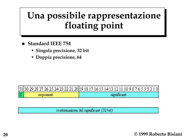 Una possibile rappresentazione floating point
