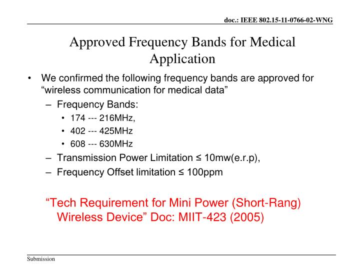 Approved Frequency Bands for Medical Application