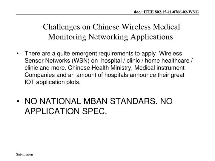 Challenges on Chinese Wireless Medical Monitoring Networking Applications