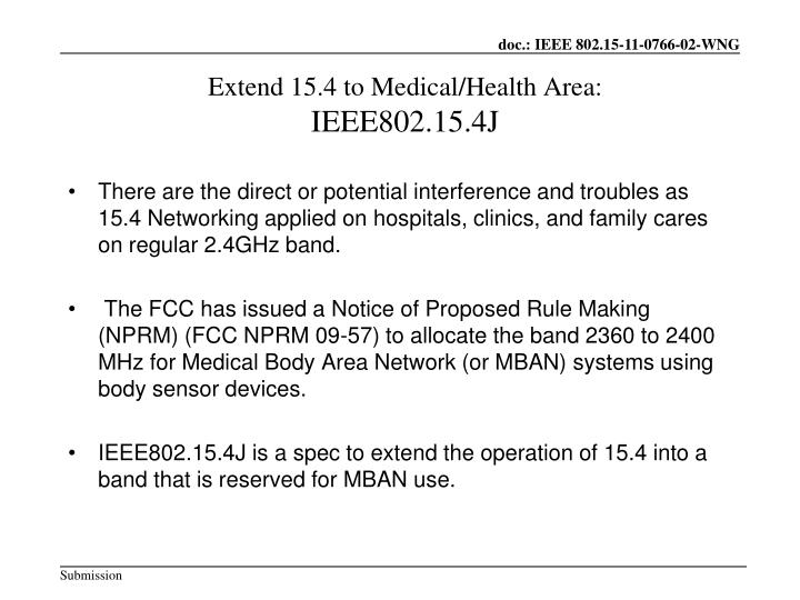 Extend 15.4 to Medical/Health Area: