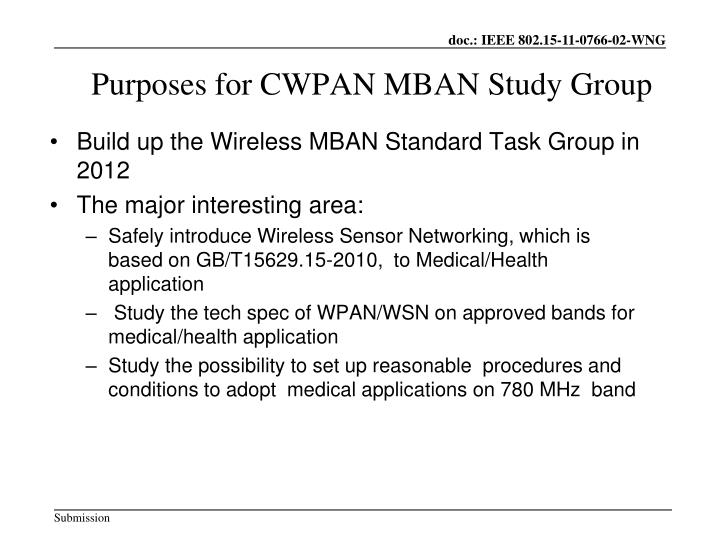 Purposes for CWPAN MBAN Study Group