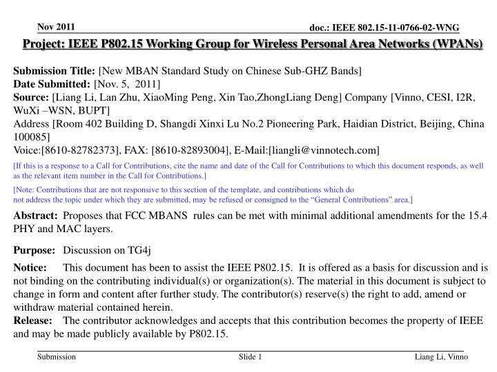 Project: IEEE P802.15 Working Group for Wireless Personal Area Networks (