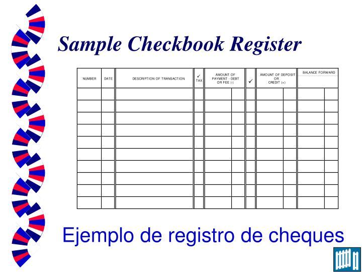 Sample Checkbook Register