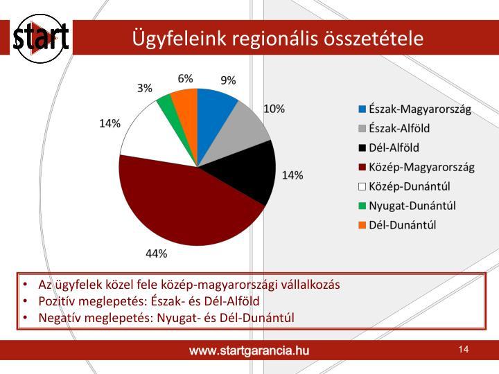 Ügyfeleink regionális összetétele