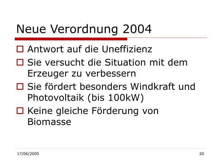Neue Verordnung 2004