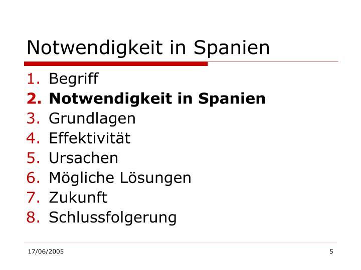 Notwendigkeit in Spanien
