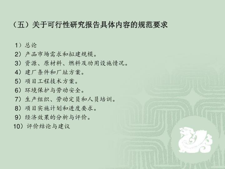 (五)关于可行性研究报告具体内容的规范要求