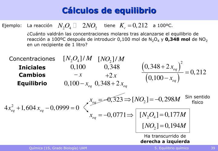 Cálculos de equilibrio