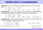 relaci n entre k y la estequiometria