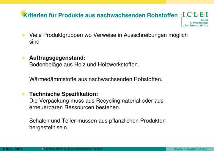 Kriterien für Produkte aus nachwachsenden Rohstoffen