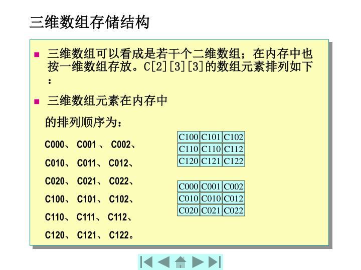 三维数组存储结构