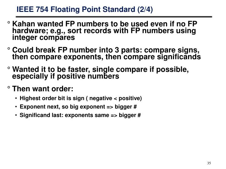 IEEE 754 Floating Point Standard (2/4)