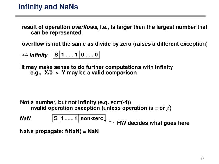 Infinity and NaNs