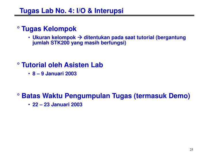 Tugas Lab No. 4: I/O & Interupsi