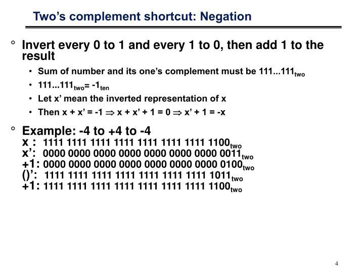 Two's complement shortcut: Negation