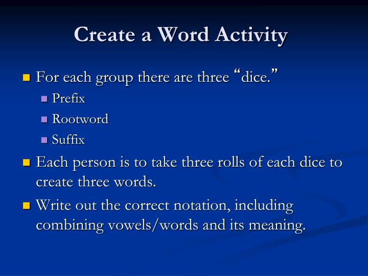 Create a Word Activity