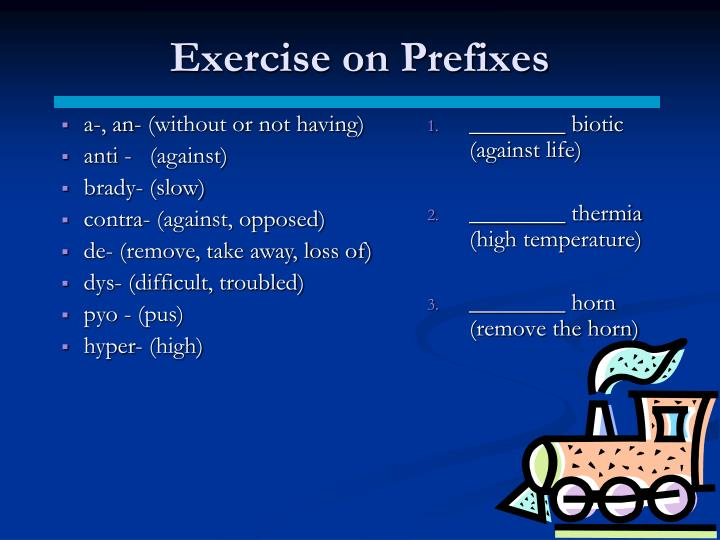 Exercise on Prefixes