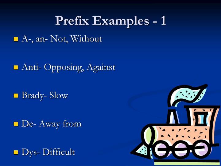 Prefix Examples - 1