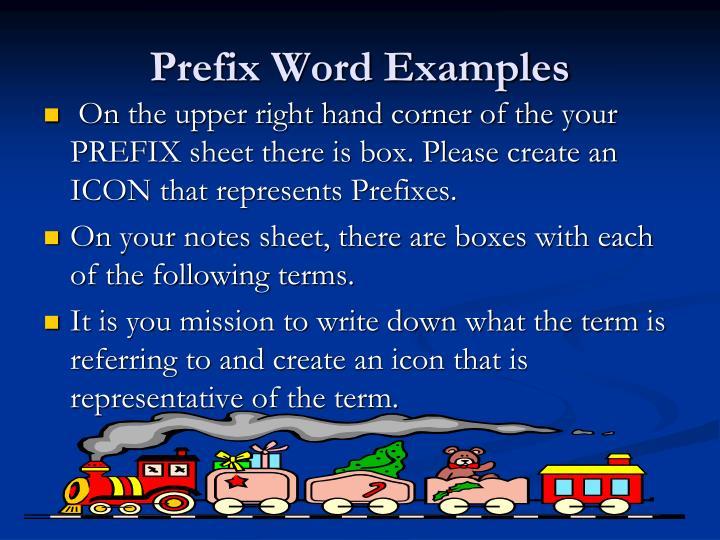 Prefix Word Examples