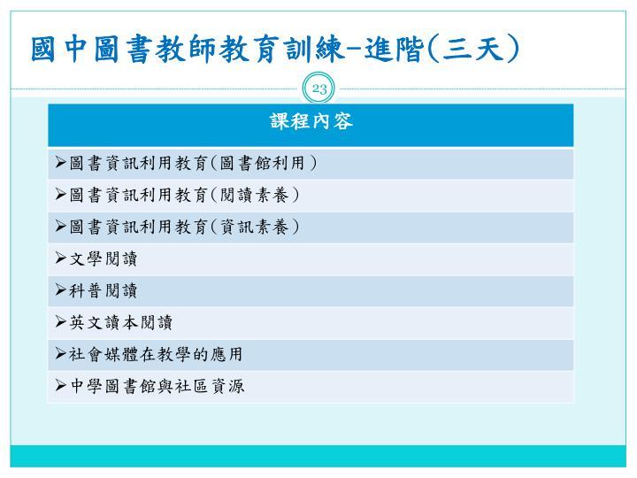 國中圖書教師教育訓練