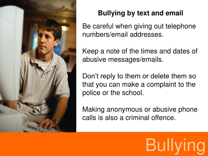Bullying by text and email